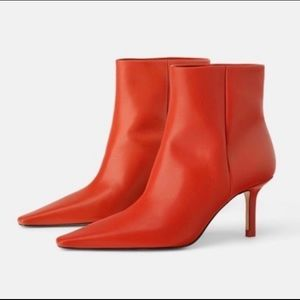 ZARA High Heel Gaucho Red Leather Ankle Boots NWT
